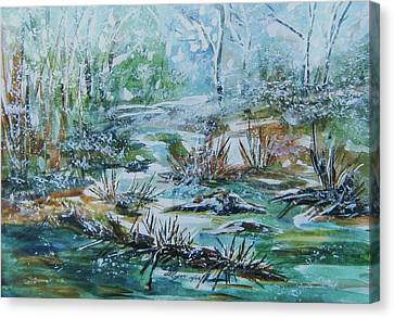 Canvas Print featuring the painting Winter Whispers On Catskill Creek by Ellen Levinson