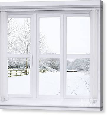 Country Lanes Canvas Print - Winter Window by Amanda Elwell