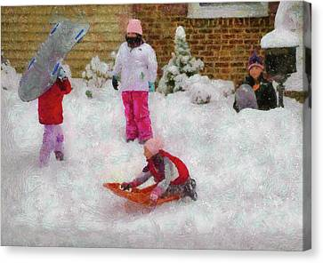 Winter - Winter Is Fun Canvas Print by Mike Savad