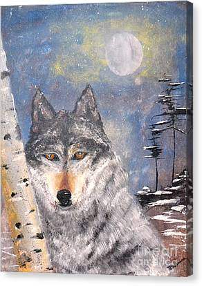 Canvas Print featuring the painting Winter Wolf by Denise Tomasura