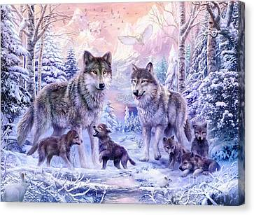 Winter Wolf Family  Canvas Print by Jan Patrik Krasny