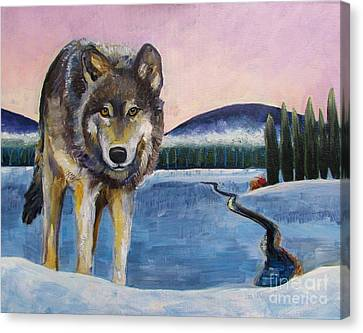 Winter Wolf Canvas Print by Harriet Peck Taylor