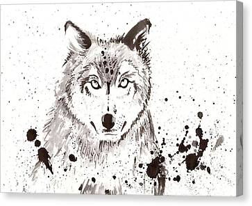 Winter Wolf Canvas Print by Tiberiu Soos