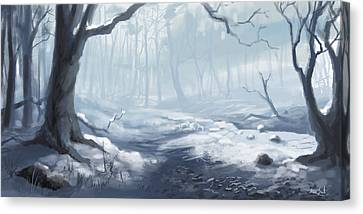 Canvas Print featuring the painting Winter Wood by Sean Seal