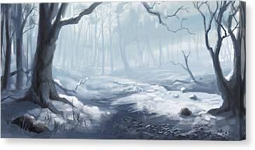 Winter Wood Canvas Print by Sean Seal