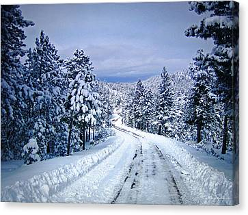 Winter Woodland Photo -country Roads Take Me Home -mountain Landscape -nature Canvas Print by Julie Magers Soulen