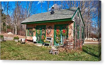 Maine Farmhouse Canvas Print - Winterberry Farm Stand by Guy Whiteley