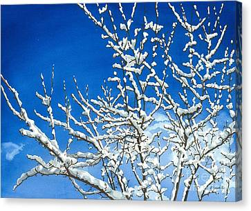 Canvas Print featuring the painting Winter's Artistry by Barbara Jewell