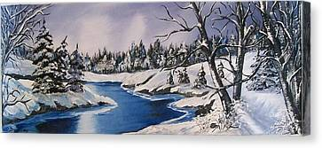 Canvas Print featuring the painting Winter's Blanket by Sharon Duguay