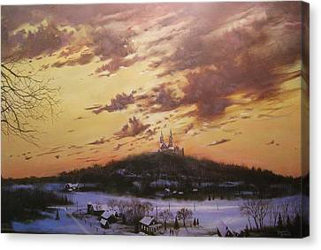 Winter's Eve At Holy Hill Canvas Print by Tom Shropshire