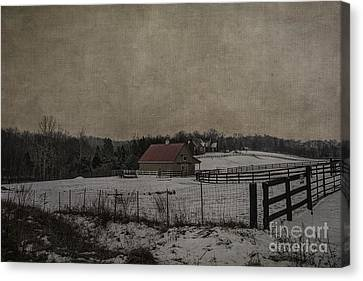 Winter's Farm Canvas Print by Terry Rowe