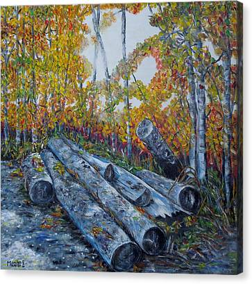 Canvas Print featuring the painting Winter's Firewood by Marilyn  McNish
