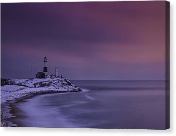 Winter's Glow At Montauk Point Canvas Print
