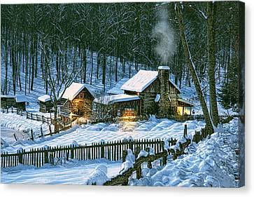 Canvas Print featuring the digital art Winter's Haven by Mary Almond