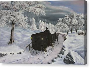 Winters Journey Canvas Print by Lou Magoncia