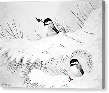 Chickadees Canvas Print by Chastity Hoff
