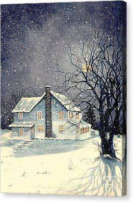 Bare Trees Canvas Print - Winter's Silent Night by Janine Riley