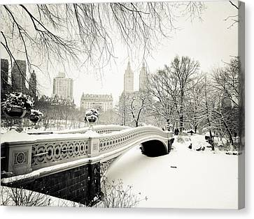 Black And White Canvas Print - Winter's Touch - Bow Bridge - Central Park - New York City by Vivienne Gucwa