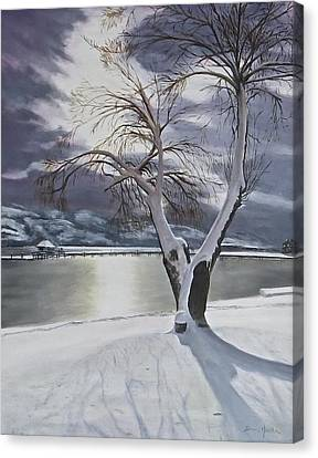 Canvas Print featuring the painting Winter's Whisper by Bonnie Heather