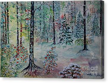 Canvas Print featuring the painting Winters Wonderland by Alfred Motzer