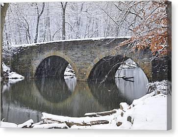 Wintertime At Bells Mill Road Canvas Print by Bill Cannon