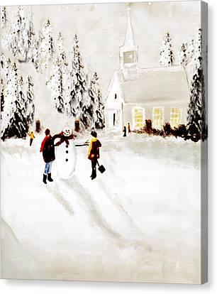 Wintertime In Pine Village Canvas Print by Chastity Hoff