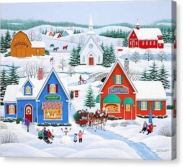 Wintertime In Sugarcreek Canvas Print by Wilfrido Limvalencia