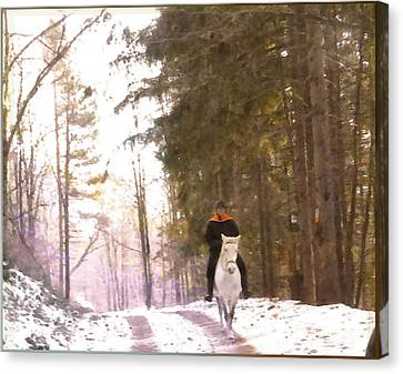 Canvas Print - Wintertime Moment-the Chemistry Between Horse And Rider by Patricia Keller