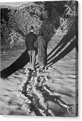 Wintertime Moonlight Stroll Canvas Print