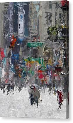 Wintertime On Broadway Canvas Print by Steve K