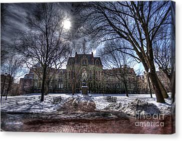 Wintery College Hall Green - University Of Pennsylvania Canvas Print by Mark Ayzenberg