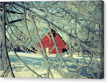 Wintery Red Barn Canvas Print by Julie Hamilton