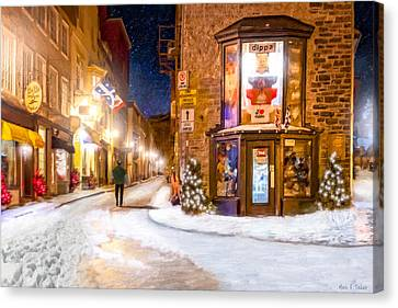Wintery Streets Of Old Quebec At Night Canvas Print by Mark Tisdale