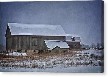 Wintry Barn Canvas Print by Joan Carroll