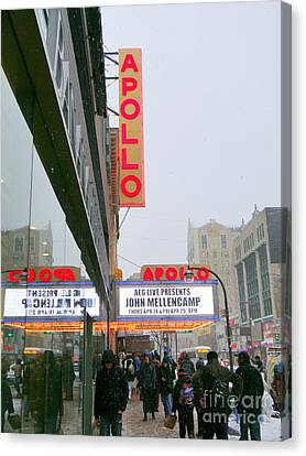 Apollo Theater Canvas Print - Wintry Day At The Apollo by Ed Weidman