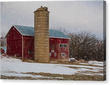 Wintry Day On The Farm 2 Canvas Print by Kathleen Scanlan