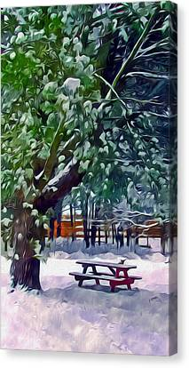 Wintry  Snowy Trees Canvas Print by Lanjee Chee