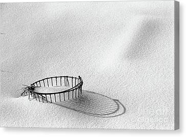 Wire Basket In Snow Canvas Print