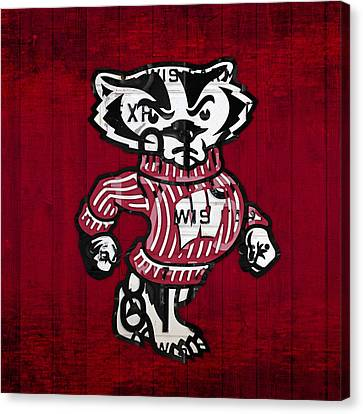 Wisconsin Badgers College Sports Team Retro Vintage Recycled License Plate Art Canvas Print by Design Turnpike