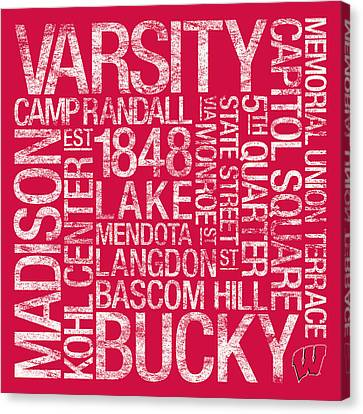Word Art Canvas Print - Wisconsin College Colors Subway Art by Replay Photos