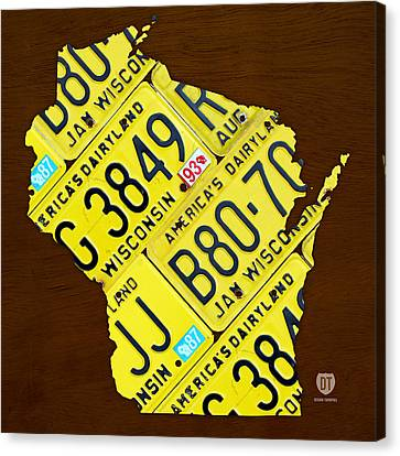 Wisconsin License Plate Map By Design Turnpike Canvas Print by Design Turnpike