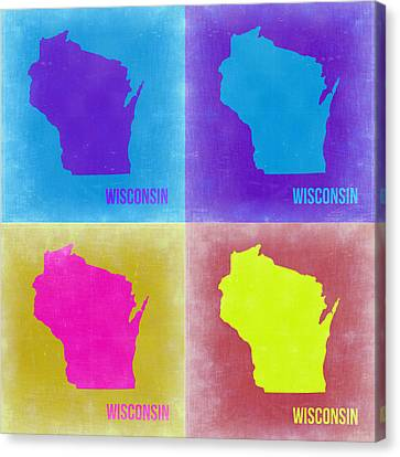 Wisconsin Pop Art Map 3 Canvas Print by Naxart Studio