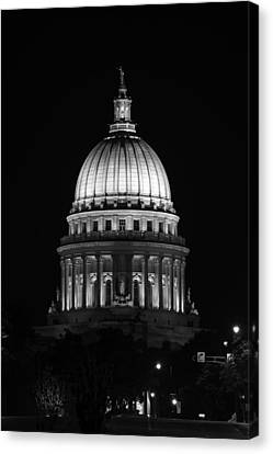Wisconsin State Capitol Building At Night Black And White Canvas Print