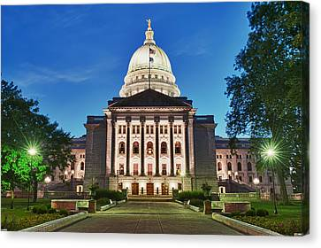 Capitol Building Canvas Print - Wisconsin State Capitol Building At Night by Sebastian Musial