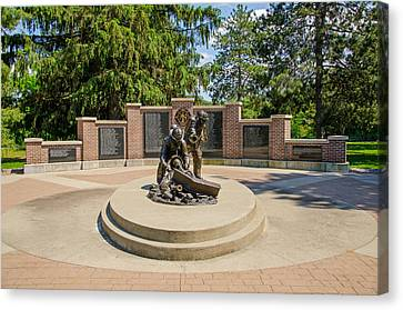 Canvas Print featuring the photograph Wisconsin State Firefighters Memorial 1 by Susan  McMenamin