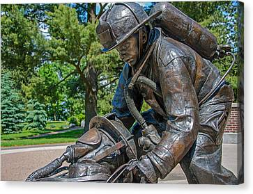 Canvas Print featuring the photograph Wisconsin State Firefighters Memorial 4 by Susan  McMenamin