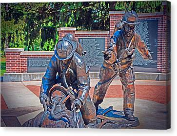 Canvas Print featuring the photograph Wisconsin State Firefighters Memorial Park 2 by Susan  McMenamin