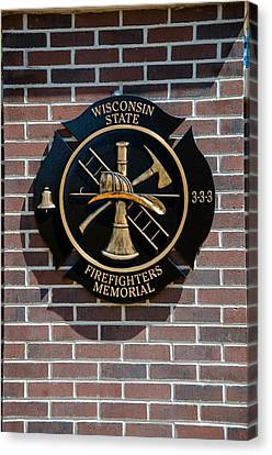 Canvas Print featuring the photograph Wisconsin State Firefighters Memorial Park 5 by Susan  McMenamin