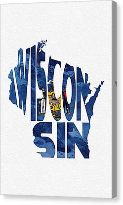 Wisconsin Typographic Map Flag Canvas Print by Ayse Deniz