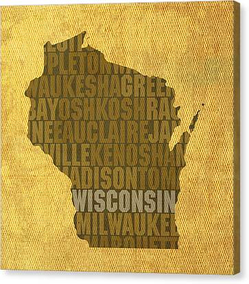 Wisconsin Word Art State Map On Canvas Canvas Print